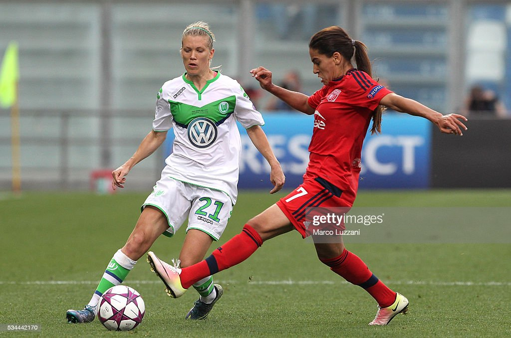 <a gi-track='captionPersonalityLinkClicked' href=/galleries/search?phrase=Lara+Dickenmann&family=editorial&specificpeople=6892167 ng-click='$event.stopPropagation()'>Lara Dickenmann</a> of VfL Wolfsburg is challenged by <a gi-track='captionPersonalityLinkClicked' href=/galleries/search?phrase=Amel+Majri&family=editorial&specificpeople=12793812 ng-click='$event.stopPropagation()'>Amel Majri</a> of Olympique Lyonnais during the UEFA Women's Champions League Final VfL Wolfsburg and Olympique Lyonnais between at Mapei Stadium - Citta' del Tricolore on May 26, 2016 in Reggio nell'Emilia, Italy.