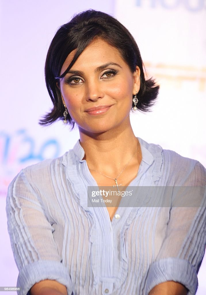 Lara Dutta attends an event in Mumbai on April 14 announcing the promotional tie up of Bollywood Hindi Film �Houseful� with ESPN for the ICC World...