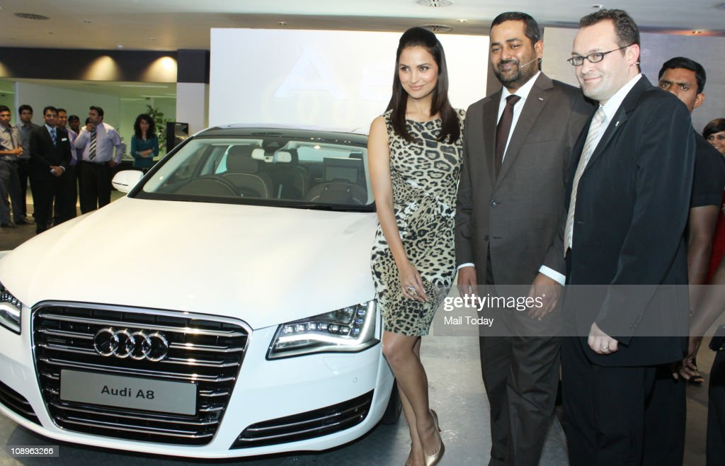 Lara Dutta during the launch of the new Audi A8 at Audi Showroom in Mumbai on February 09 2011