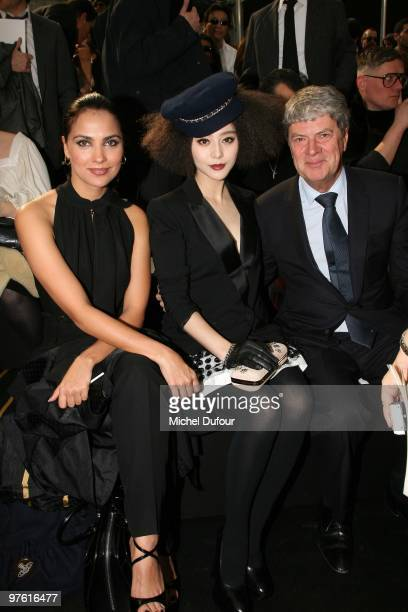 Lara Dutta Fan Bingbing and Yves Carcelles attend the Louis Vuitton Ready to Wear show as part of the Paris Womenswear Fashion Week Fall/Winter 2011...
