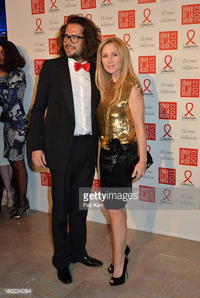 Lara Fabian and a Guest attend the Sidaction Gala Dinner 2013 at Pavillon d'Armenonville on January 24 2013 in Paris France