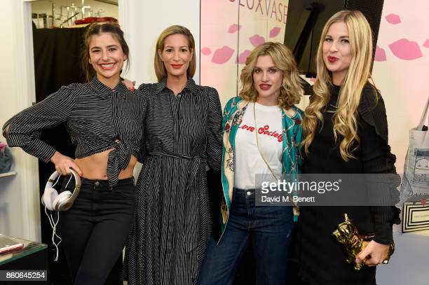 Lara Fraser Laura Pradelska Ashley Roberts and guest attend the Lulu x Vaseline launch party at Lulu Guinness at Covent Garden on October 12 2017 in...