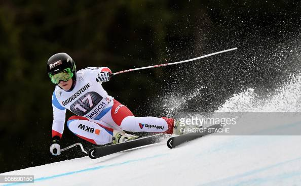 Lara Gut from Switzerland races down the hill during the Ladies Super G competition race at the FIS Alpine Skiing World Cup in GarmischPartenkirchen...