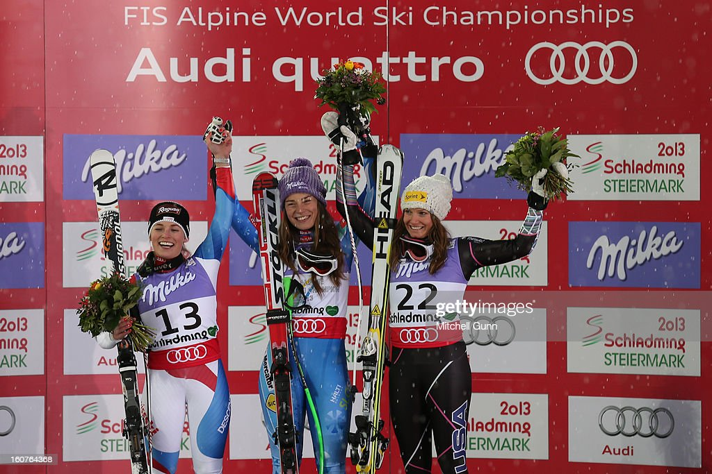 Lara Gut of Switzerland (L) 2nd placed racer Tina Maze of Slovenia (C) race winner and Julia Mancuso of USA (R) 3rd placed racer on the podium for the Alpine FIS Ski World Championships super giant slalom (SuperG) race on February 05, 2013 in Schladming, Austria, (Photo by Mitchell Gunn/Getty Images) Lara Gut, Tina Maze, Julia Mancuso