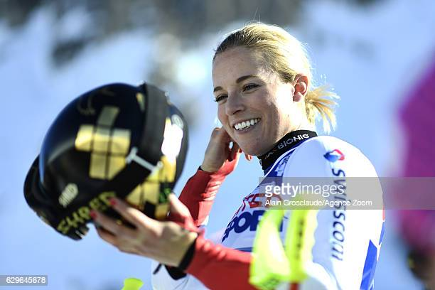 Lara Gut of Switzerland at the start during the Audi FIS Alpine Ski World Cup Women's Downhill Training on December 14 2016 in Vald'Isere France