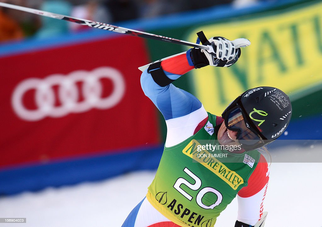 Lara Gut of Switzerland celebrates after completing her second run of the women's World Cup giant slalom in Aspen on November 24, 2012. Gut took fourth place. AFP PHOTO/Don EMMERT