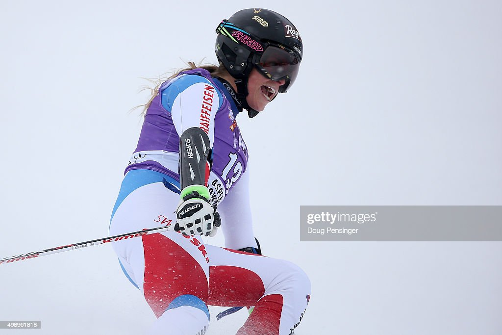 Lara Gut of Switzerland celebrates as she crosses the finish line of her second run as she went on to win the giant slalom during the Audi FIS Women's Alpine Ski World Cup at the Nature Valley Aspen Winternational on November 27, 2015 in Aspen, Colorado.
