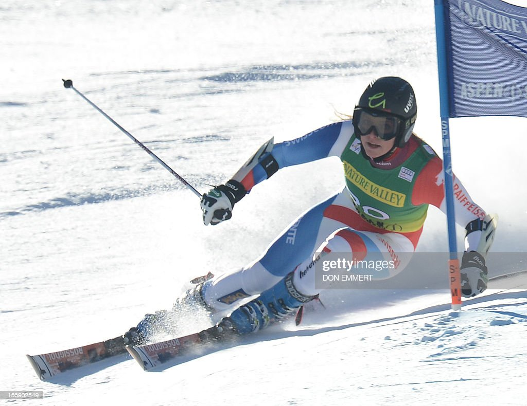 Lara Gut of Switzerland clears a gate during the first run of the women's World Cup giant slalom in Aspen on November 24, 2012. AFP PHOTO/Don EMMERT