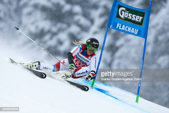 Lara Gut of Switzerland competes during the Audi FIS Alpine Ski World Cup Women's Giant Slalom on January 17 2016 in Flachau Austria
