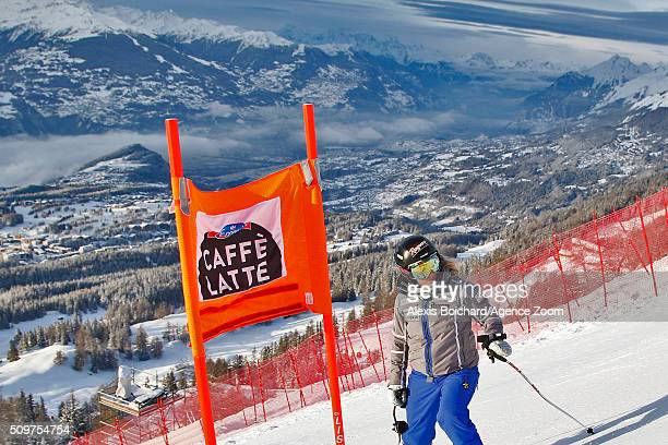 Lara Gut of Switzerland competes during the Audi FIS Alpine Ski World Cup Women's Downhill Training on February 12 2016 in Crans Montana Switzerland