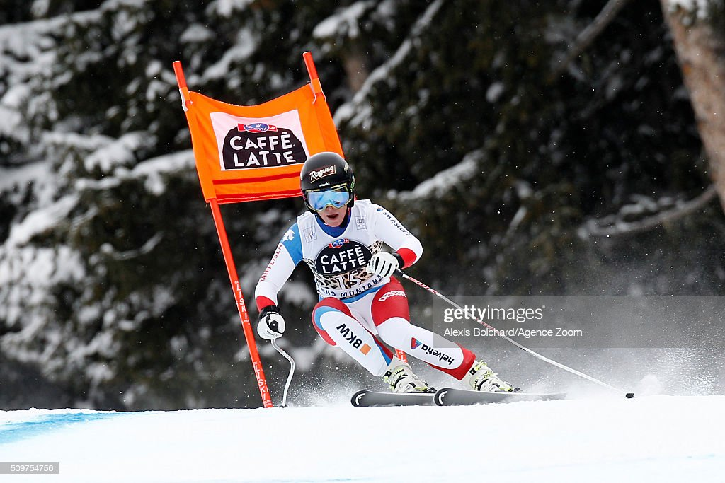 <a gi-track='captionPersonalityLinkClicked' href=/galleries/search?phrase=Lara+Gut&family=editorial&specificpeople=4860592 ng-click='$event.stopPropagation()'>Lara Gut</a> of Switzerland competes during the Audi FIS Alpine Ski World Cup Women's Downhill Training on February 12, 2016 in Crans Montana, Switzerland.
