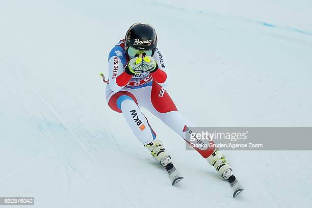 Lara Gut of Switzerland competes during the Audi FIS Alpine Ski World Cup Women's SuperG on January 22 2017 in GarmischPartenkirchen Germany