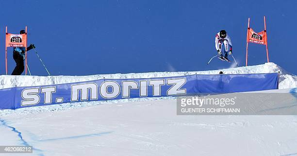 Lara Gut of Switzerland competes during the FIS Alpine Ski World Cup women's downhill race in St Moritz on January 24 2015 AFP PHOTO / GUENTER...