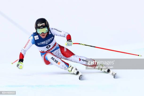 Lara Gut of Switzerland competes during the Women's Combined Downhill during the FIS Alpine World Ski Championships on February 10 2017 in St Moritz...