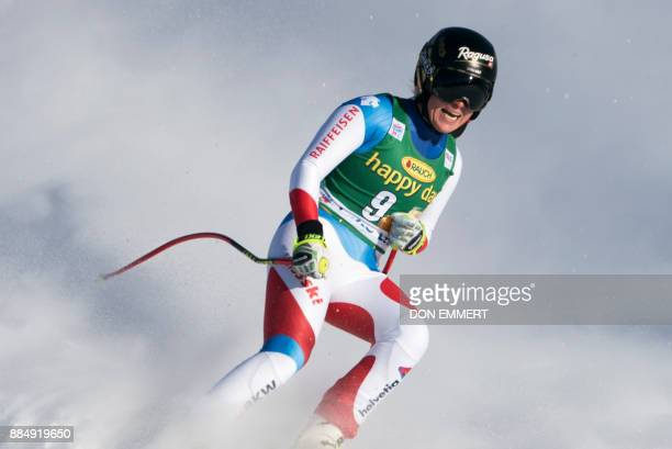 Lara Gut of Switzerland crosses the finish line in second place during the FIS Ski World Cup Women's Super G on December 3 2017 in Lake Louise Canada...