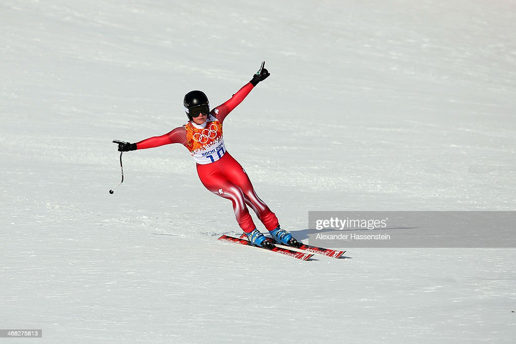 <a gi-track='captionPersonalityLinkClicked' href=/galleries/search?phrase=Lara+Gut&family=editorial&specificpeople=4860592 ng-click='$event.stopPropagation()'>Lara Gut</a> of Switzerland finishes her run during the Alpine Skiing Women's Super Combined Downhill on day 3 of the Sochi 2014 Winter Olympics at Rosa Khutor Alpine Center on February 10, 2014 in Sochi, Russia.