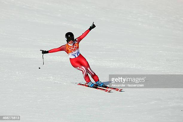 Lara Gut of Switzerland finishes her run during the Alpine Skiing Women's Super Combined Downhill on day 3 of the Sochi 2014 Winter Olympics at Rosa...