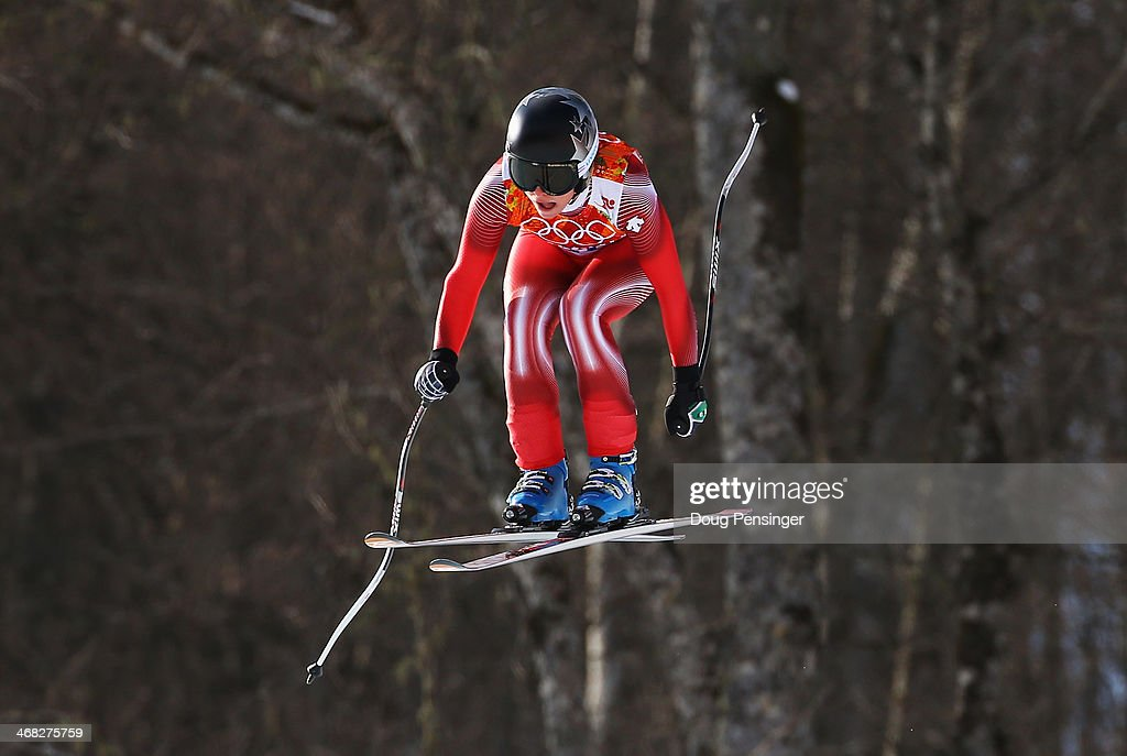 <a gi-track='captionPersonalityLinkClicked' href=/galleries/search?phrase=Lara+Gut&family=editorial&specificpeople=4860592 ng-click='$event.stopPropagation()'>Lara Gut</a> of Switzerland in action during the Alpine Skiing Women's Super Combined Downhill on day 3 of the Sochi 2014 Winter Olympics at Rosa Khutor Alpine Center on February 10, 2014 in Sochi, Russia.