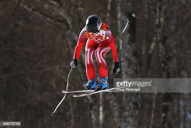 Lara Gut of Switzerland in action during the Alpine Skiing Women's Super Combined Downhill on day 3 of the Sochi 2014 Winter Olympics at Rosa Khutor...