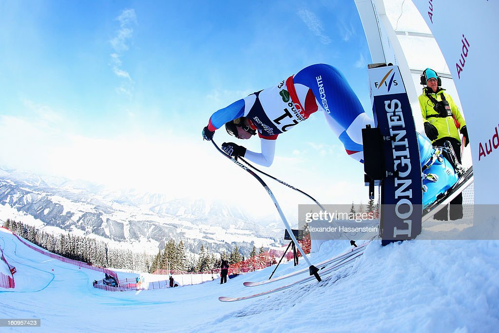 Lara Gut of Switzerland leaves the start gate to ski in the Downhill section of the Women's Super Combined during the Alpine FIS Ski World Championships on February 8, 2013 in Schladming, Austria.