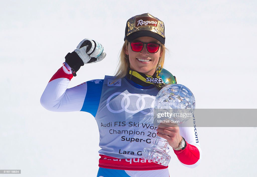 Lara Gut of Switzerland poses with the crystal globe for overall Super G during the Audi FIS Alpine Skiing World Cup Super G on March 17 2016 in St...
