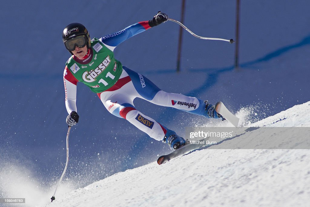 Lara Gut of Switzerland races down the Kandahar course while competing in the Audi FIS Alpine Ski World Cup downhill race on January 12, 2013 in St Anton, Austria.
