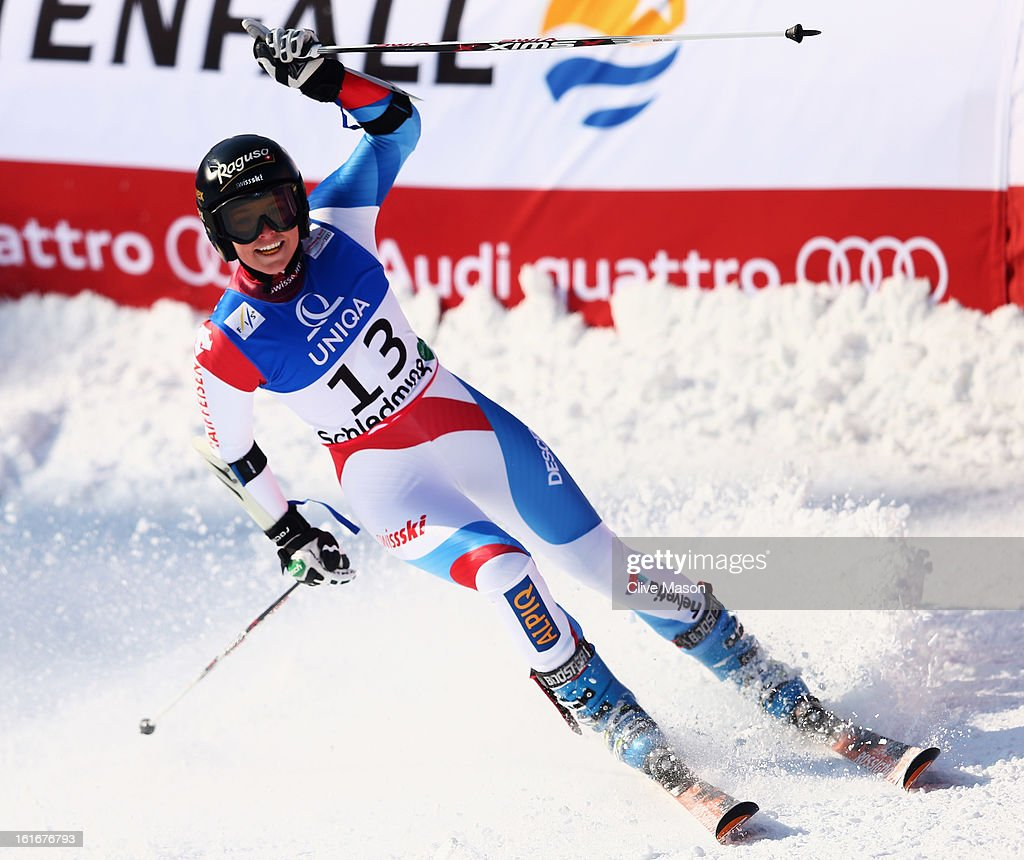 Lara Gut of Switzerland reacts in the finish area after skiing in the Women's Giant Slalom during the Alpine FIS Ski World Championships on February 14, 2013 in Schladming, Austria.