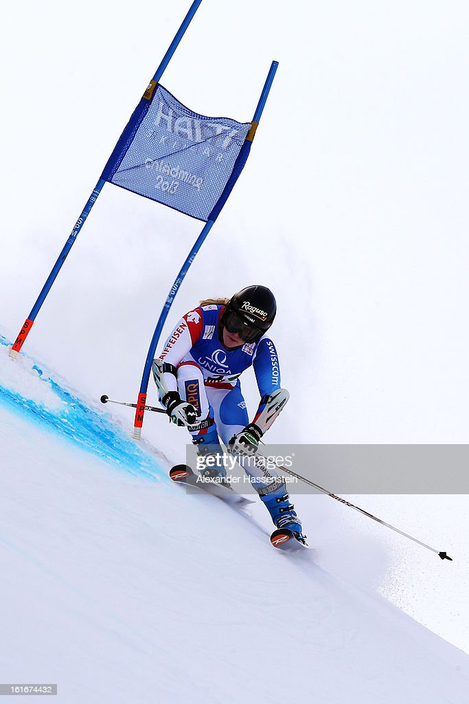 Lara Gut of Switzerland skis in the Women's Giant Slalom during the Alpine FIS Ski World Championships on February 14, 2013 in Schladming, Austria.