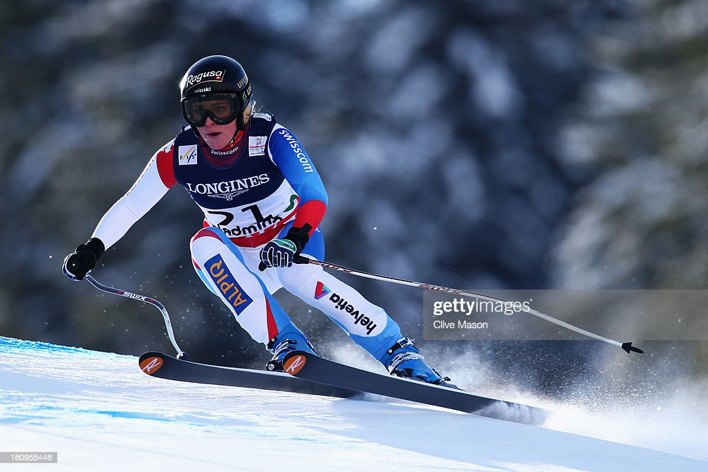 <a gi-track='captionPersonalityLinkClicked' href=/galleries/search?phrase=Lara+Gut&family=editorial&specificpeople=4860592 ng-click='$event.stopPropagation()'>Lara Gut</a> of Switzerland skis in the Women's Super Combined during the Alpine FIS Ski World Championships on February 8, 2013 in Schladming, Austria.