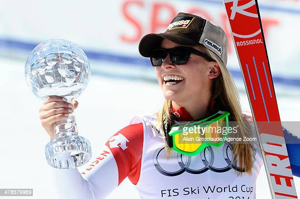 Lara Gut of Switzerland takes 1st place and wins the overall World Cup SuperG globe during the Audi FIS Alpine Ski World Cup Finals Women's SuperG on...