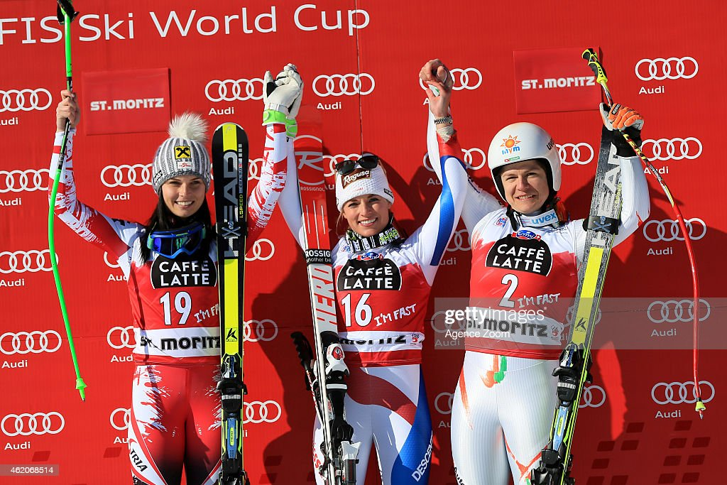 <a gi-track='captionPersonalityLinkClicked' href=/galleries/search?phrase=Lara+Gut&family=editorial&specificpeople=4860592 ng-click='$event.stopPropagation()'>Lara Gut</a> of Switzerland takes 1st place, <a gi-track='captionPersonalityLinkClicked' href=/galleries/search?phrase=Anna+Fenninger&family=editorial&specificpeople=4045781 ng-click='$event.stopPropagation()'>Anna Fenninger</a> of Austria takes 2nd place, Edit Miklos of Hungary takes 3rd place during the Audi FIS Alpine Ski World Cup Women's Downhill on January 24, 2015 in St. Moritz, Switzerland.