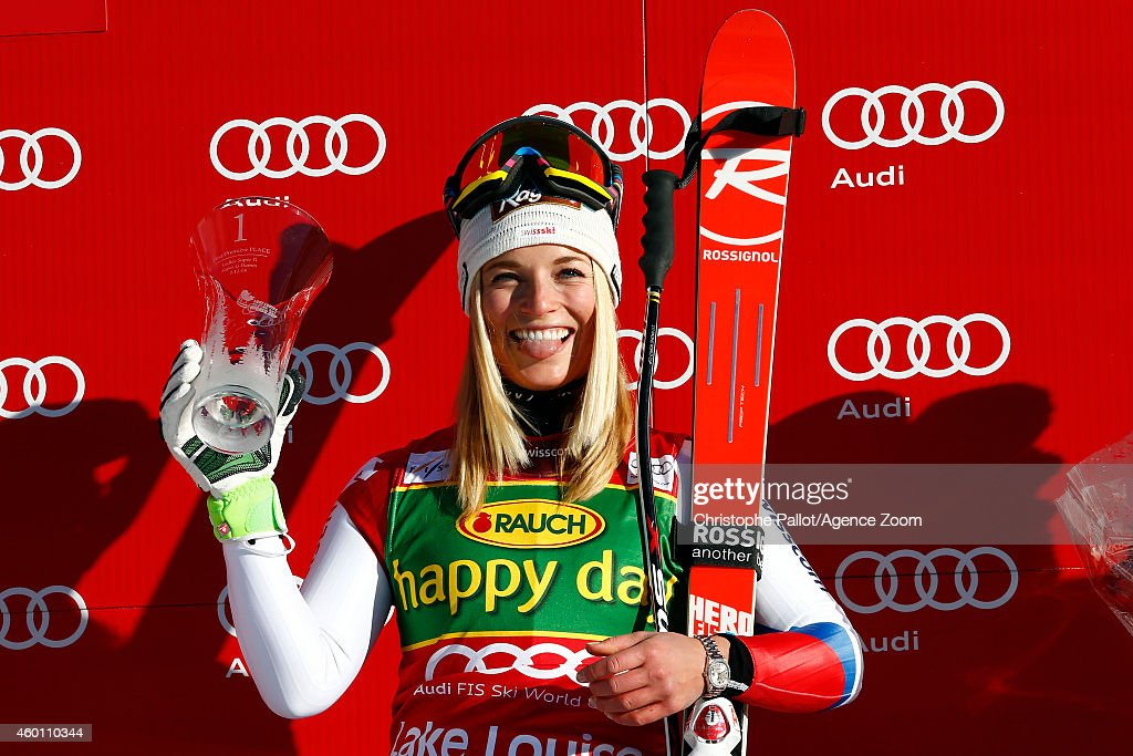 <a gi-track='captionPersonalityLinkClicked' href=/galleries/search?phrase=Lara+Gut&family=editorial&specificpeople=4860592 ng-click='$event.stopPropagation()'>Lara Gut</a> of Switzerland takes 1st place during the Audi FIS Alpine Ski World Cup Women's Super-G on December 07, 2014 in Lake Louise, Canada.