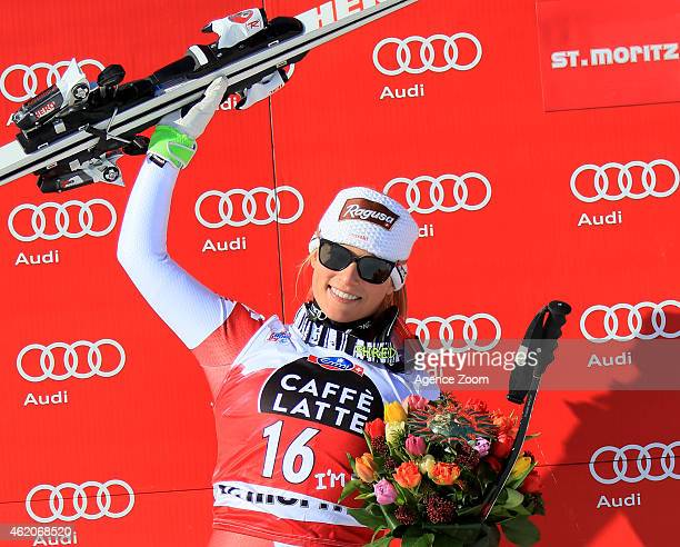 Lara Gut of Switzerland takes 1st place during the Audi FIS Alpine Ski World Cup Women's Downhill on January 24 2015 in St Moritz Switzerland