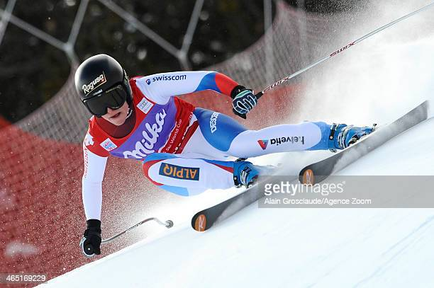 Lara Gut of Switzerland takes 1st place during the Audi FIS Alpine Ski World Cup Women's SuperG on January 26 2014 in Cortina d'Ampezzo Italy