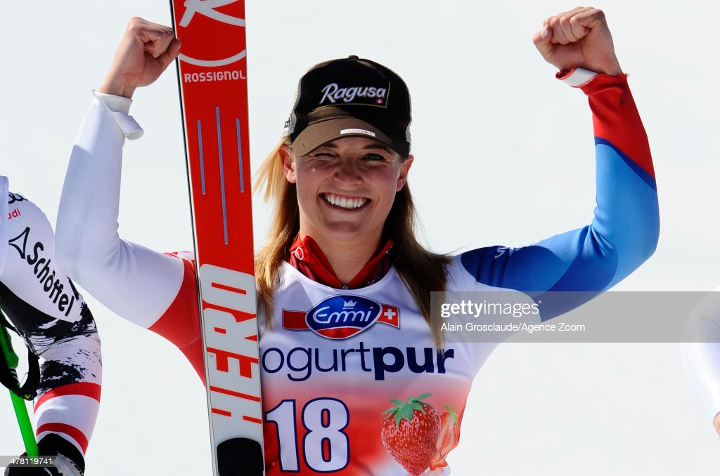 <a gi-track='captionPersonalityLinkClicked' href=/galleries/search?phrase=Lara+Gut&family=editorial&specificpeople=4860592 ng-click='$event.stopPropagation()'>Lara Gut</a> of Switzerland takes 1st place during the Audi FIS Alpine Ski World Cup Finals Women's Downhill on March 12, 2014 in Lenzerheide, Switzerland.