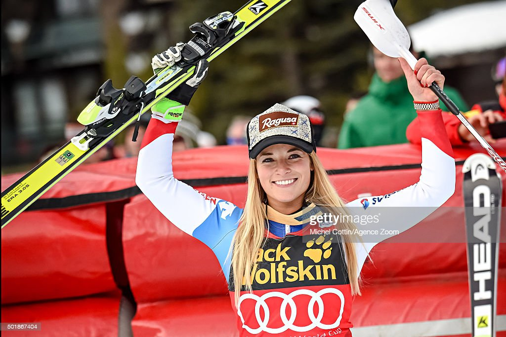 <a gi-track='captionPersonalityLinkClicked' href=/galleries/search?phrase=Lara+Gut&family=editorial&specificpeople=4860592 ng-click='$event.stopPropagation()'>Lara Gut</a> of Switzerland takes 1st place during the Audi FIS Alpine Ski World Cup Women's Combined on December 18, 2015 in Val d'Isere, France.