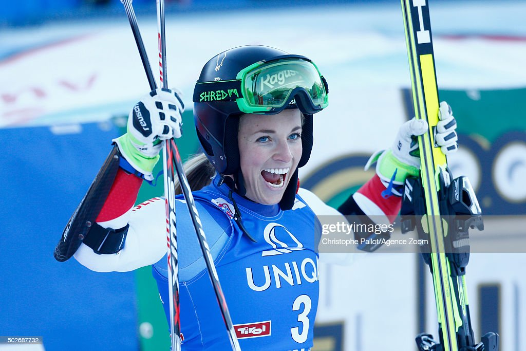 <a gi-track='captionPersonalityLinkClicked' href=/galleries/search?phrase=Lara+Gut&family=editorial&specificpeople=4860592 ng-click='$event.stopPropagation()'>Lara Gut</a> of Switzerland takes 1st place during the Audi FIS Alpine Ski World Cup Women's Giant Slalom on December 28, 2015 in Lienz, Austria.