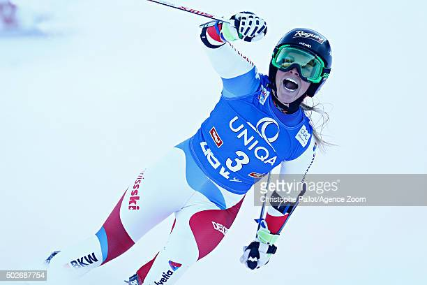 Lara Gut of Switzerland takes 1st place during the Audi FIS Alpine Ski World Cup Women's Giant Slalom on December 28 2015 in Lienz Austria