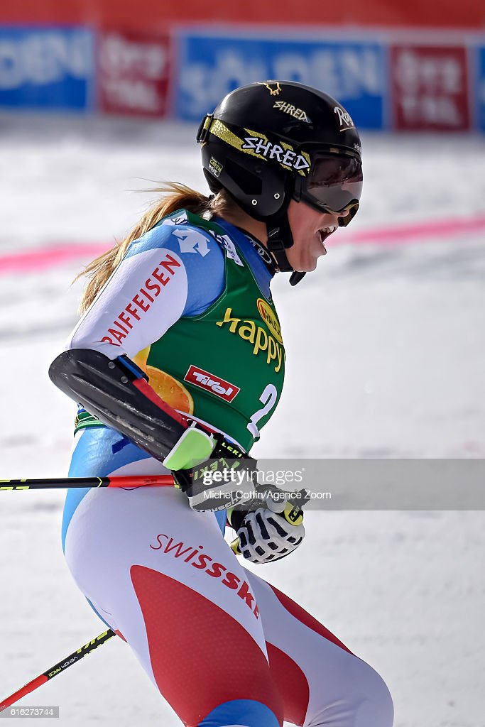 Lara Gut of Switzerland takes 1st place during the Audi FIS Alpine Ski World Cup Women's Giant Slalom on October 22, 2016 in Soelden, Austria