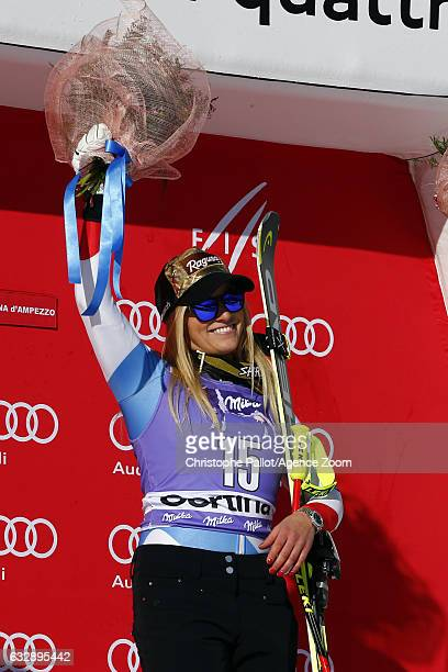 Lara Gut of Switzerland takes 1st place during the Audi FIS Alpine Ski World Cup Women's Downhill on January 28 2017 in Cortina d'Ampezzo Italy