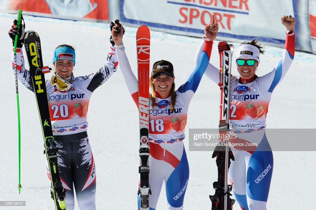 <a gi-track='captionPersonalityLinkClicked' href=/galleries/search?phrase=Lara+Gut&family=editorial&specificpeople=4860592 ng-click='$event.stopPropagation()'>Lara Gut</a> of Switzerland (C) takes 1st place, <a gi-track='captionPersonalityLinkClicked' href=/galleries/search?phrase=Elisabeth+Goergl&family=editorial&specificpeople=767488 ng-click='$event.stopPropagation()'>Elisabeth Goergl</a> of Austria (L) takes 2nd place, <a gi-track='captionPersonalityLinkClicked' href=/galleries/search?phrase=Fraenzi+Aufdenblatten&family=editorial&specificpeople=722501 ng-click='$event.stopPropagation()'>Fraenzi Aufdenblatten</a> of Switzerland takes 3rd place during the Audi FIS Alpine Ski World Cup Finals Women's Downhill on March 12, 2014 in Lenzerheide, Switzerland.