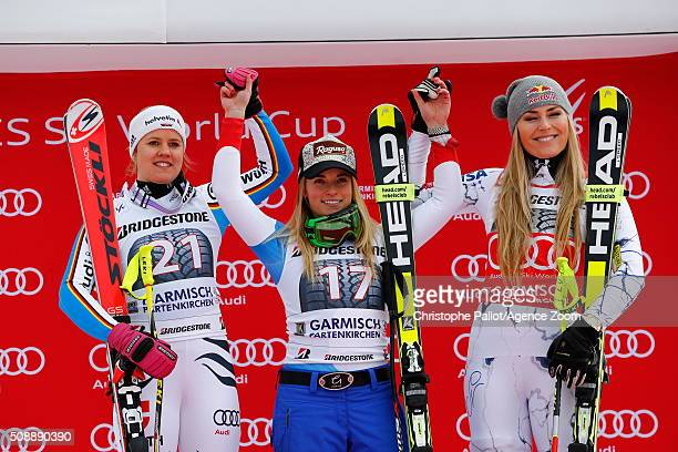 Lara Gut of Switzerland takes 1st placeViktoria Rebensburg of Germany takes 2nd place Lindsey Vonn of the USA takes 3rd place during the Audi FIS...