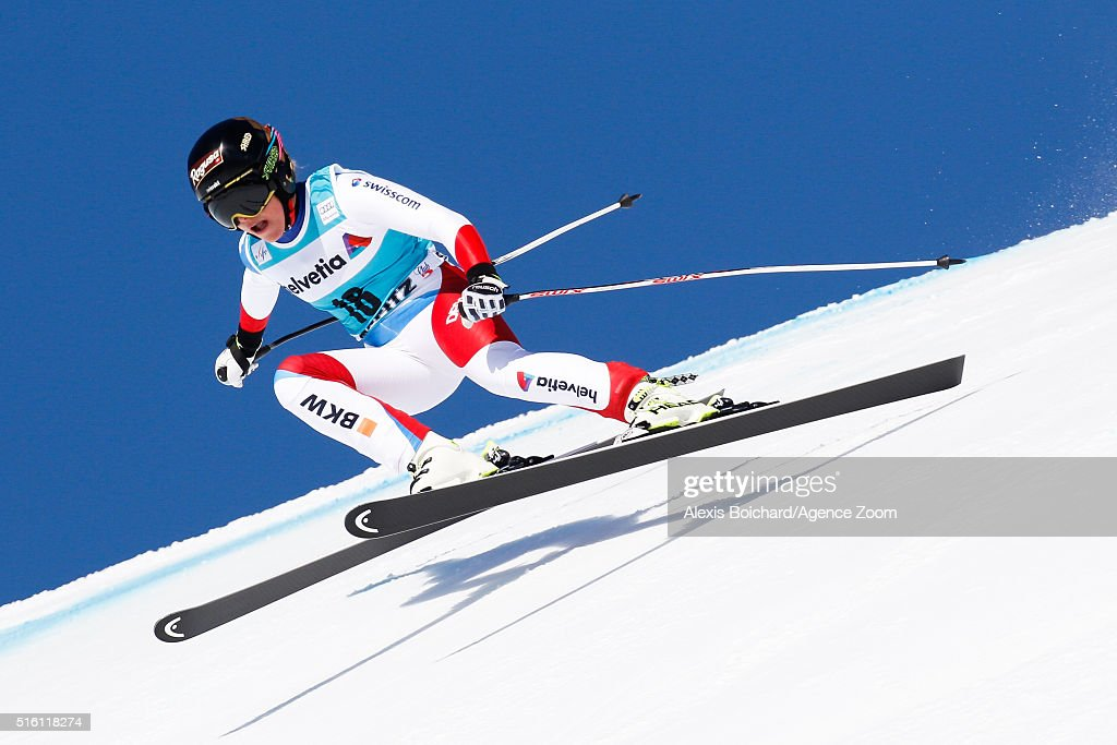 Lara Gut of Switzerland takes 2nd place and wins the SuperG crystal globe during the Audi FIS Alpine Ski World Cup Finals Men's and Women's SuperG on...