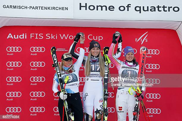 Lara Gut of Switzerland takes 2nd place Lindsey Vonn of USA takes 1st place Viktoria Rebensburg of Germany takes 3rd place during the Audi FIS Alpine...