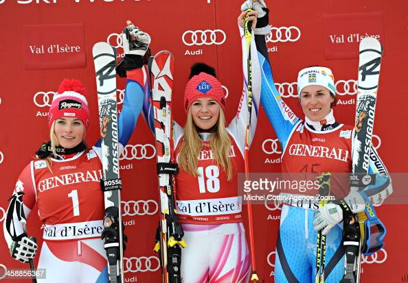 Lara Gut of Switzerland takes 2nd place Maria PietilaeHolmner of Sweden takes 3rd place Tina Weirather of Liechtenstein takes 1st place during the...