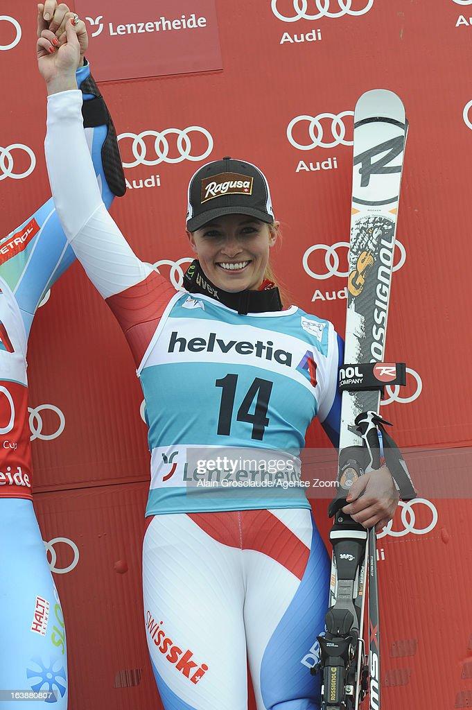 Lara Gut of Switzerland takes 3rd place during the Audi FIS Alpine Ski World Cup WomenÕs Giant Slalom on March 17, 2013 in Lenzerheide, Switzerland.