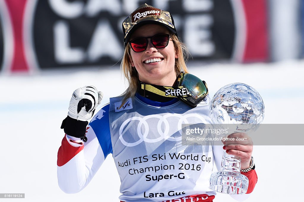 <a gi-track='captionPersonalityLinkClicked' href=/galleries/search?phrase=Lara+Gut&family=editorial&specificpeople=4860592 ng-click='$event.stopPropagation()'>Lara Gut</a> of Switzerland wins the globe in the overall standings during the Audi FIS Alpine Ski World Cup Finals Men's and Women's Super-G on March 17, 2016 in St. Moritz, Switzerland.
