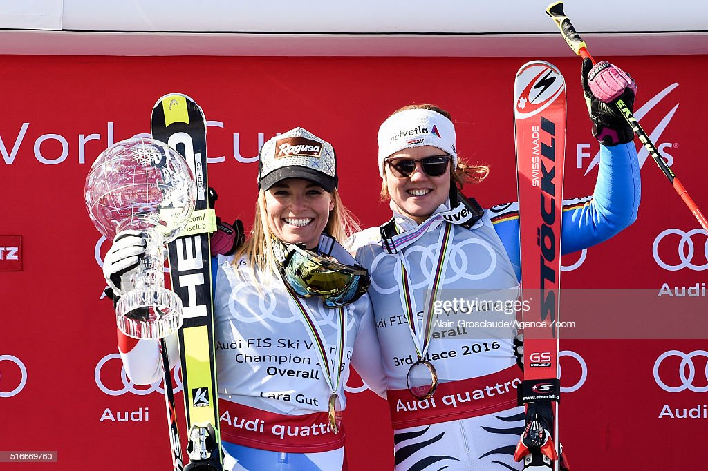 Lara Gut of Switzerland wins the Overall World Cup Crystal Globe Viktoria Rebensburg of Germany takes 3rd place in the Overall World Cup standings...