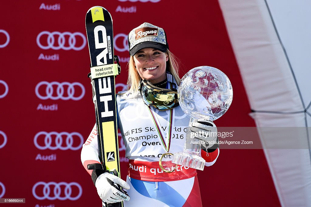 Lara Gut of Switzerland wins the Overall World Cup Crystal Globe during the Audi FIS Alpine Ski World Cup Finals Men's Slalom and Women's Giant...