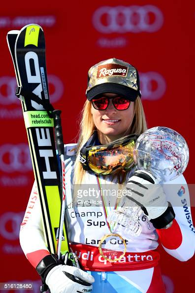 Lara Gut of Switzerland wins the SuperG crystal globe during the Audi FIS Alpine Ski World Cup Finals Men's and Women's SuperG on March 17 2016 in St...